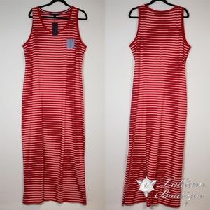 Tommy Hilfiger Red/White Striped Maxi Dress Large